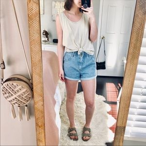 Urban Outfitters Cream Knotted Tank Top